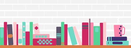 Ilustración vectorial de banner horizontal de estanterías con libros de estilo retro