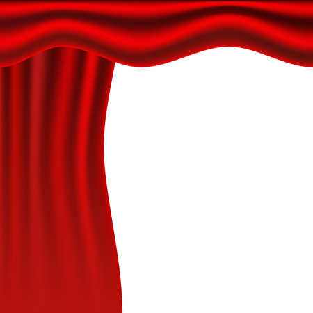 Red stage. Vector illustration. Red curtains. Scenes on white background