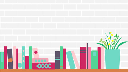 vector illustration of horizontal banner of bookshelves with retro style books Illusztráció
