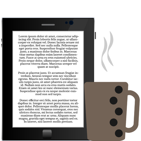 Reading e-book with a cup of coffee E-reading, coffee, pleasure, - simple illustration for your design