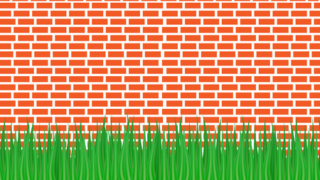 Vector illustration. Red brick wall and green grass from below. 向量圖像