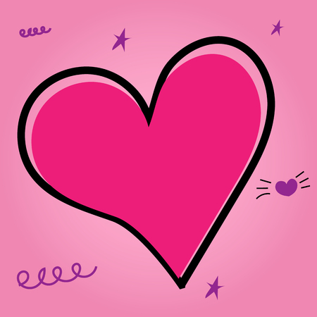 Vector illustration. Pink heart painted with hands on apinkbackground. Archivio Fotografico - 107251449