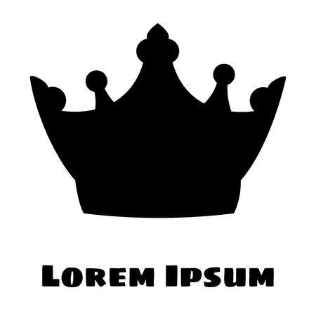Vector illustration. Black Silhouette of a crown on a white background. With place for text