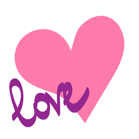 Vector illustration. Pink heart painted with hands on a white background. With the inscription Love Archivio Fotografico - 110542488