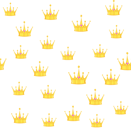 Vector illustration. Seamless golden crown pattern with gems white background