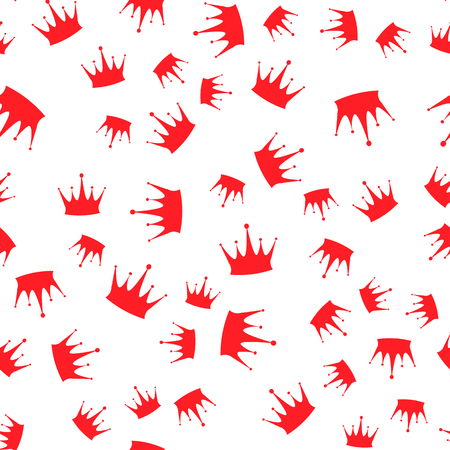 Vector illustration. Seamless pattern. Red silhouettes of crowns on a white background