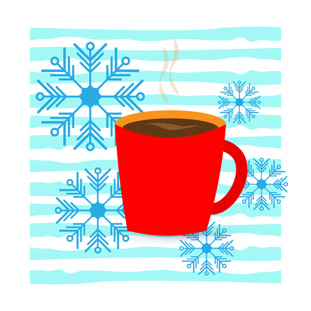 Vector illustration. Red cup with coffee or tea. And snowflakes