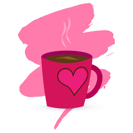 Vector illustration. A purple cup with coffee or tea and heart. on a blot