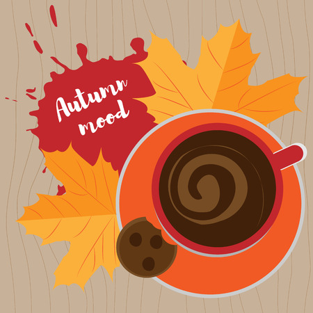 Vector illustration. Cup with coffee top view on a wooden background. Autumn mood