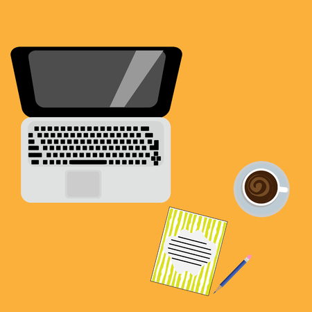 Vector illustration. Place for homework. Laptop, notebook and pencil on a color background