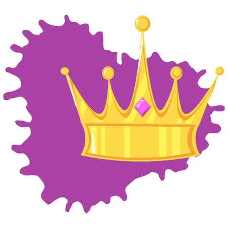 Vector illustration. Gold crown with precious stone On the color plate Ilustracja