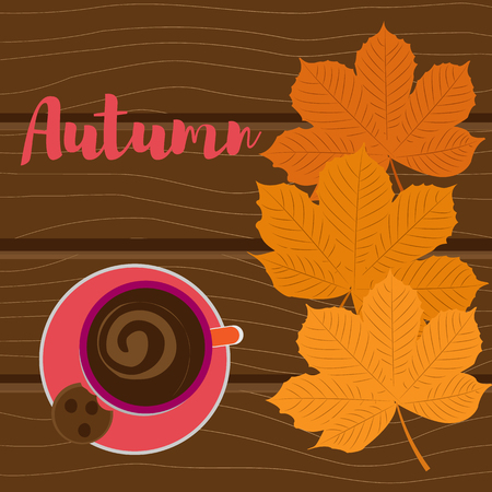 Autumn background. Yellow leaves and a cup of coffee on a wooden background