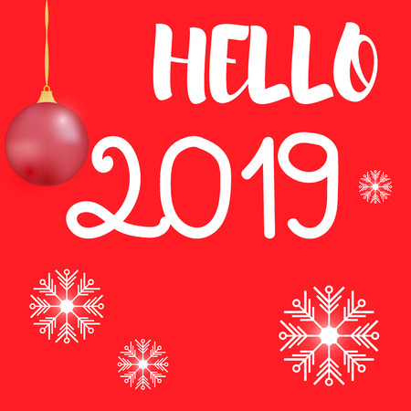 Vector illustration. Inscription hello 2019 and snowflakes on a red background