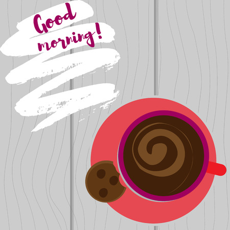 Vector illustration. Cup with coffee top view on a white background. But first coffee