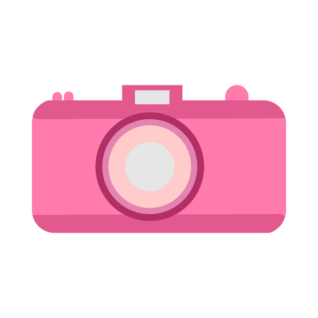 A camera in a flat style on a white background