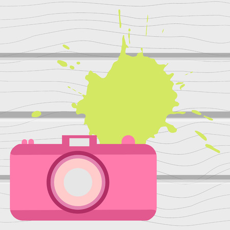 Vector illustration. The old-fashioned color camera. Flat style. Splash on a wooden background Illustration