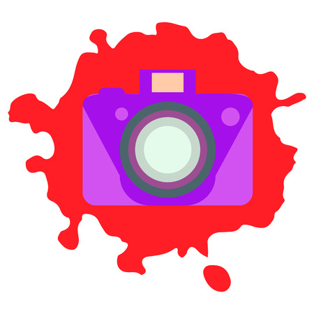 Old-fashioned color camera. Flat style. Abstract color spots background Archivio Fotografico - 109427728