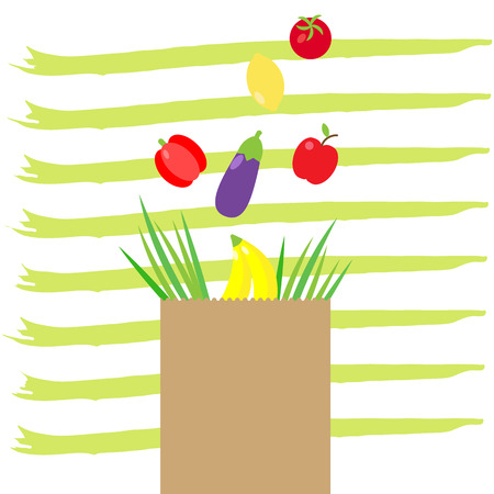 Vector illustration of paper package with fresh healthy produce. Organic products from the farm. Vegetables,fruits, salads and green in bag