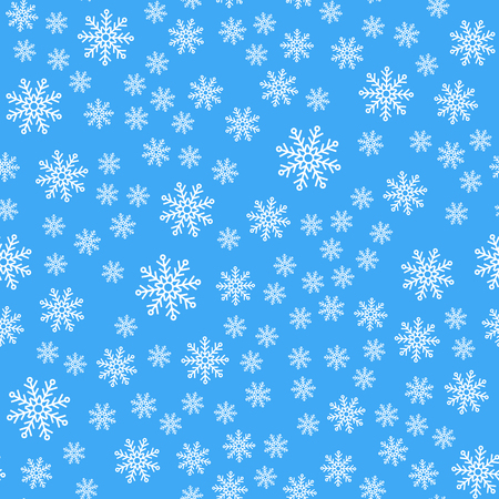 Vector illustration. Seamless pattern. White snowflakes on a blue background. For wrapping paper Vectores