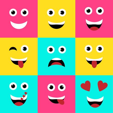 Ilustración vectorial. Conjunto de emoticonos cuadrados coloridos, diseño de vector de fondo plano emoji