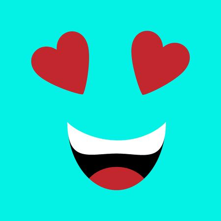 Vector illustration. Emotion squared. Flat design. Blue playful loving face with hearts