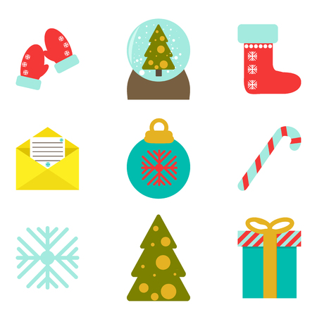 Vector illustration. Set of christmas illustrations. Flat style