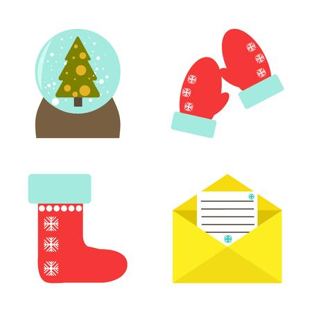 Vector illustration. Set of christmas illustrations. Flat style