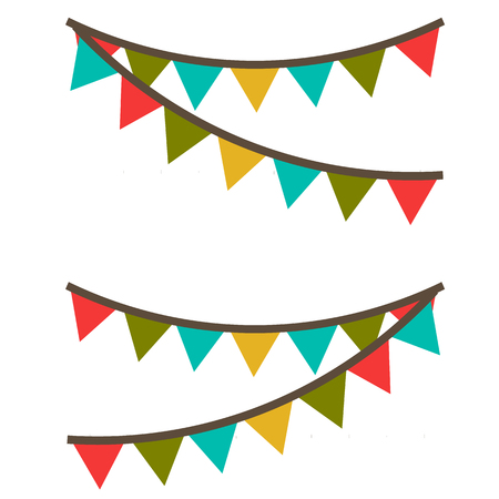 Carnival garland with flags. Decorative colorful party pennants for birthday celebration