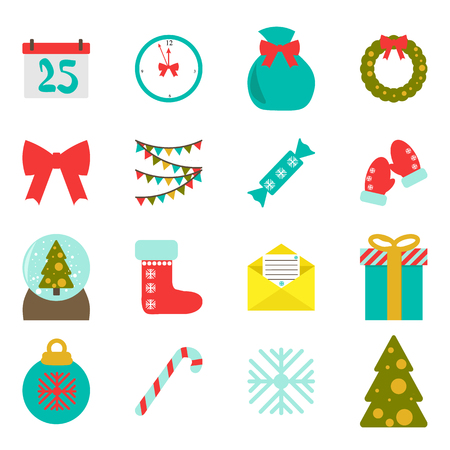 Vector. Set of christmas illustrations. Flat style