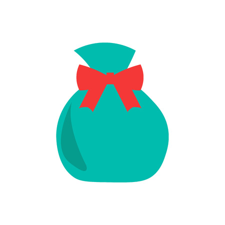 Vector illustration. Christmas bag with gifts. Flat style