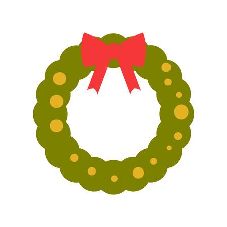 Vector illustration. New Year and Christmas wreath flat design icon isolated on white background. Ilustração