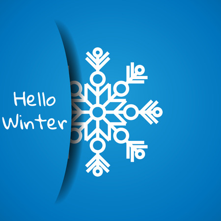 Vector illustration. Concept hello winter. Greeting card template for design. Paper snowflake hidden in paper pocket 向量圖像