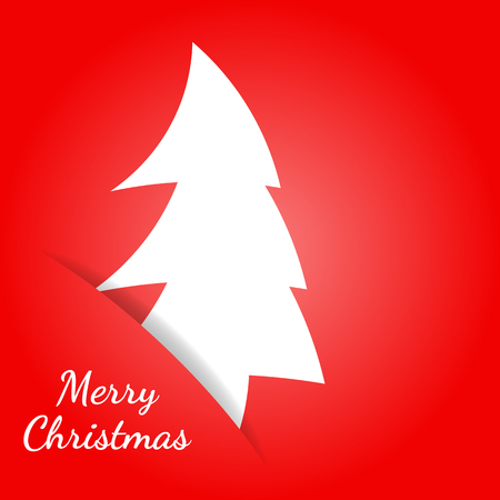 Vector illustration. Greeting christmas card in a minimalist flat style. Paper white Christmas tree hidden in the paper slot
