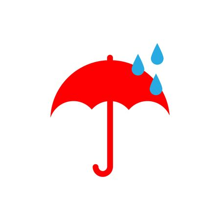Vector illustration. weather icon. Flat style. Rain. It is rainy. Red umbrella and drops Stock fotó - 132180250
