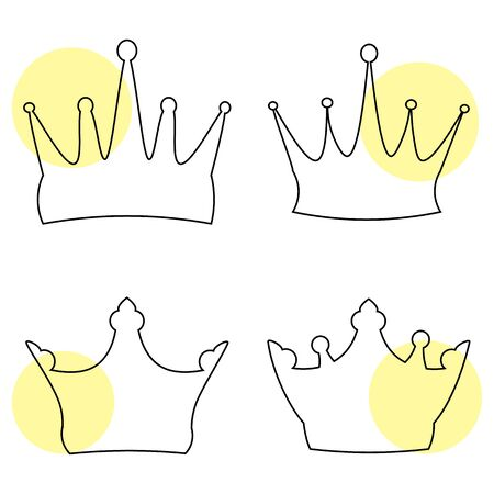 Vector illustration. Set of pink line crowns on a white background Illustration