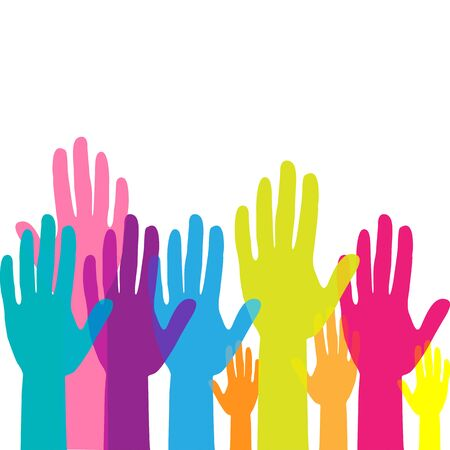 Colorful up hands. Raised hands volunteering. teamwork concept. Vector illustration