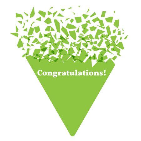 Explosion effect. The geometric figure of a green triangle explodes. Caption Congratulations. Congratulatory banner concept. Vector illustration Ilustrace
