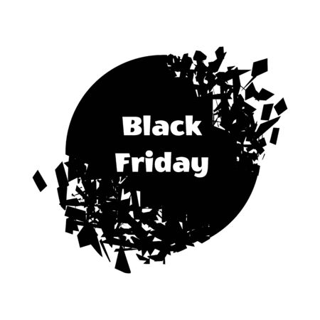 Black Friday. Explosion of the circle with the inscription. Sales concept on black friday. Vector illustration 向量圖像