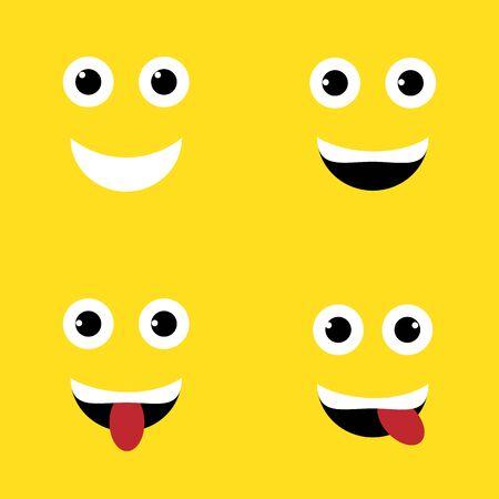 Smile. Set of colorful emoticons, emoji flat backgound pattern