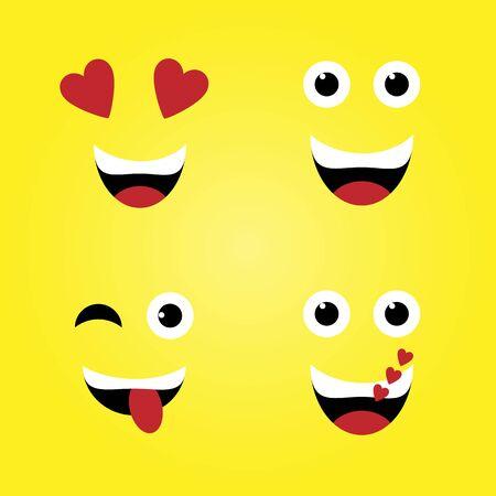 Smile. Set of colorful emoticons, emoji flat backgound pattern 矢量图片