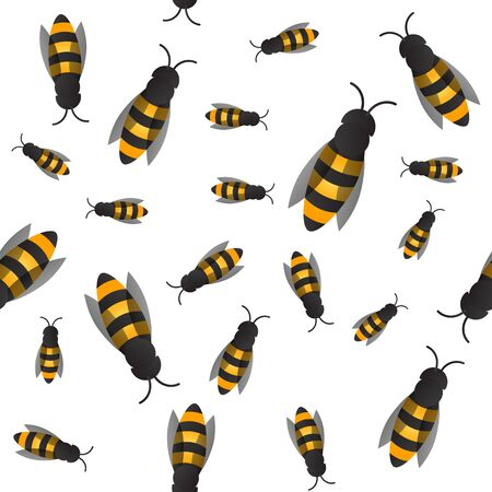 Wasp and bee background. Vector. Seamless pattern