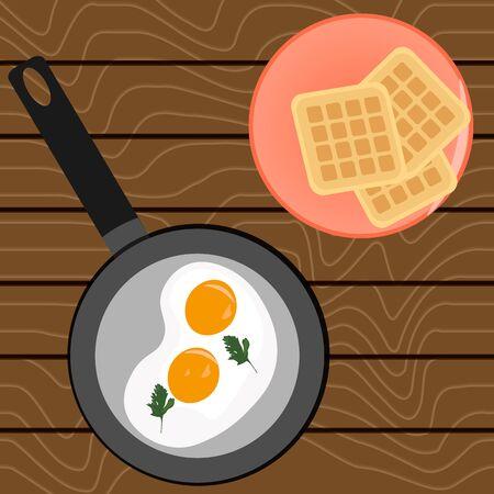 Scrambled eggs for breakfast and Belgian waffles On a wooden table Illusztráció