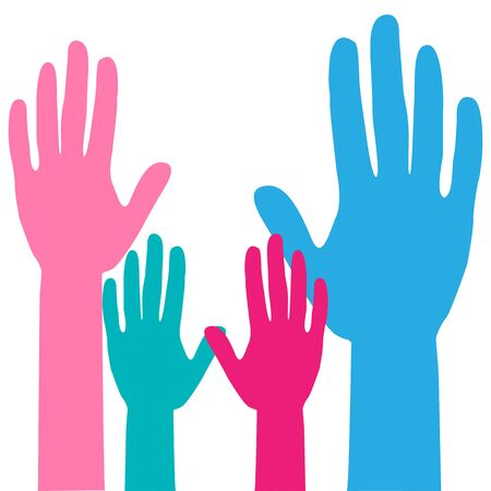 Colorful up hands. Raised hands volunteering. team work Family concept. Hands of mom, dad and children