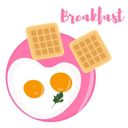 Scrambled eggs for breakfast and Belgian waffles