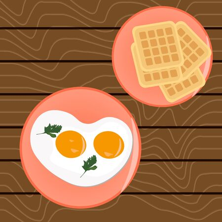 Scrambled eggs for breakfast and Belgian waffles On a wooden table. Vector illustration