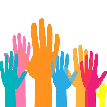 Colorful up hands. Raised hands volunteering. team work concept