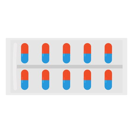 Pills or vitamins in capsule form. Blister with capsules. Vector illustration Ilustração