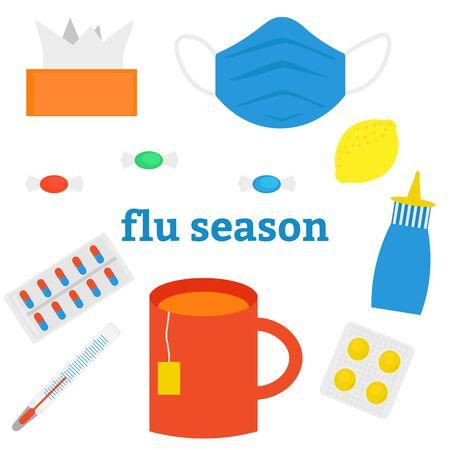 Seasonal cold or flu. Set of flat images. Vector illustration