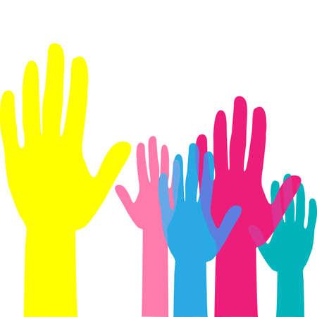 Colorful up hands. Raised hands volunteering. team work concept. Vector illustration. Ilustração