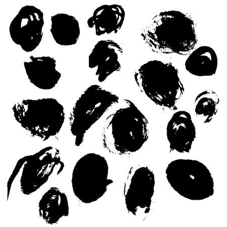 Ink black blot set. Abstract stain. Isolate on a white background Ilustração